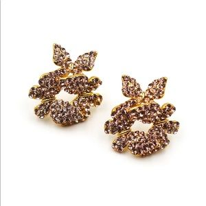 Fashion gold butterfly crystal earrings